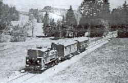 An idyllic branch line scene in Bavaria (location unknown) in 1930, with a DXI 0-6-2T (DR Class 98-5) hauling just a 4-wheel full brake and a coach. The ballast appears to be gravel, there is no fencing, and even the telegraph line is on plain posts. Scenically you cannot get much simpler than this (DB).